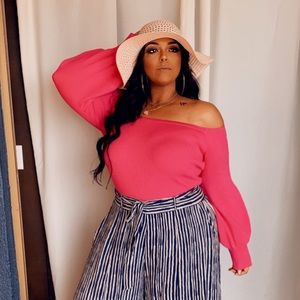 PLUS SIZE Pink Off the Shoulder Sweater